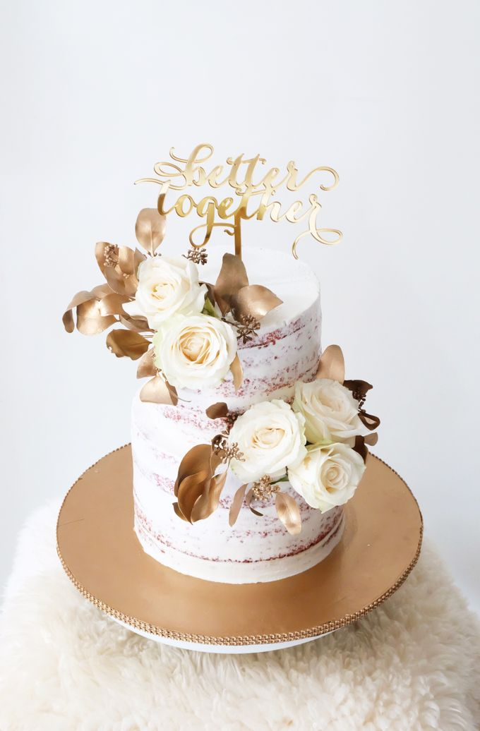 Two Tiered Red Velvet  Semi Naked Cake with White and Gold Theme by KAIA Cakes & Co. - 004