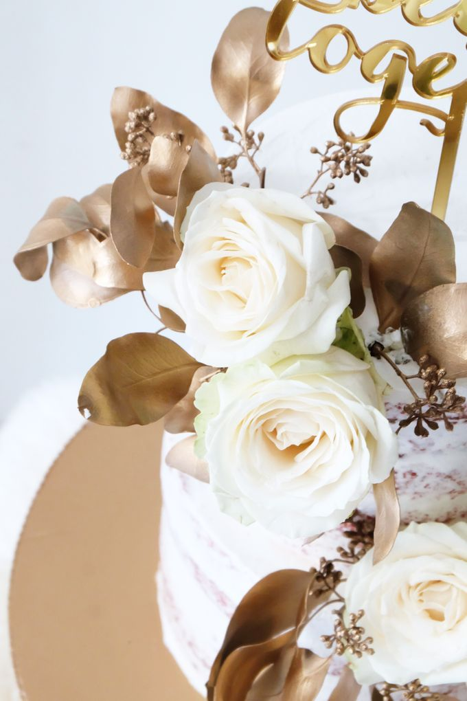 Two Tiered Red Velvet  Semi Naked Cake with White and Gold Theme by KAIA Cakes & Co. - 005