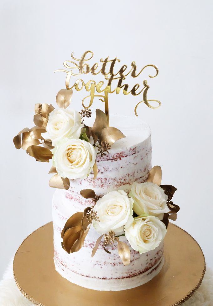 Two Tiered Red Velvet  Semi Naked Cake with White and Gold Theme by KAIA Cakes & Co. - 006