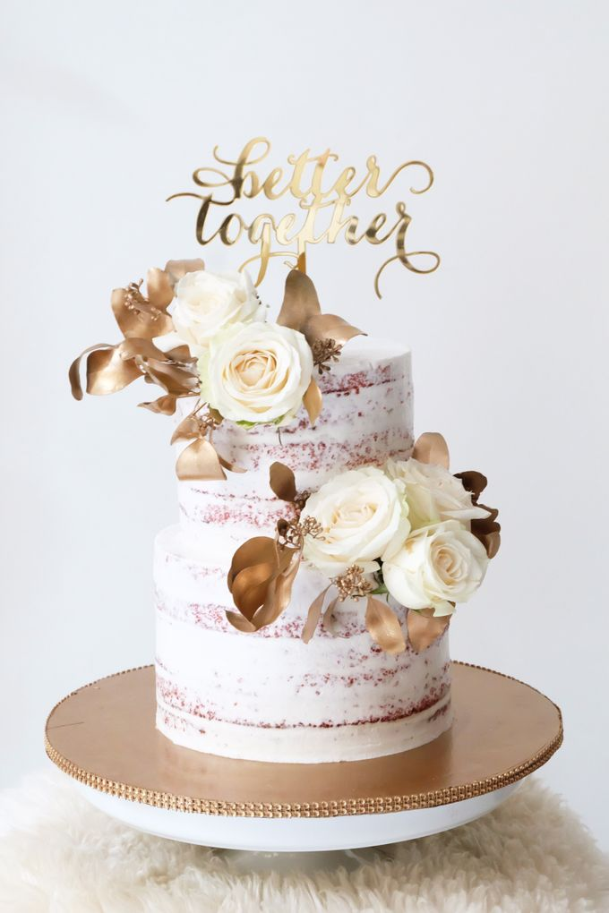 Two Tiered Red Velvet  Semi Naked Cake with White and Gold Theme by KAIA Cakes & Co. - 001