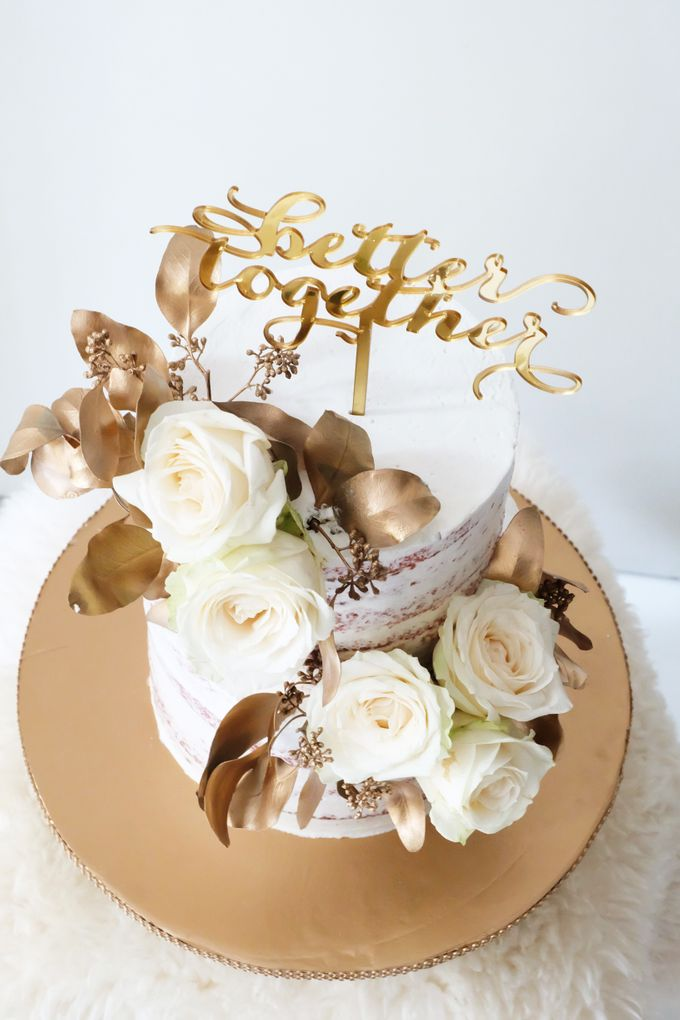 Two Tiered Red Velvet  Semi Naked Cake with White and Gold Theme by KAIA Cakes & Co. - 003