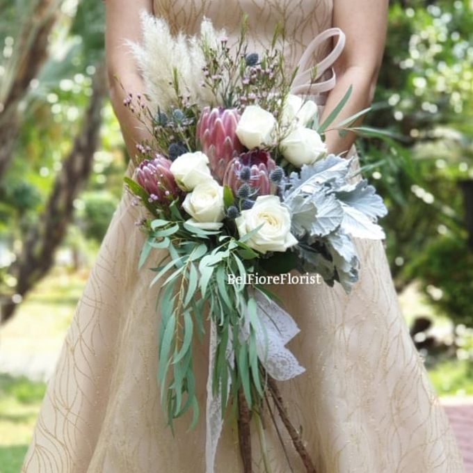 Protea Wedding Bouquet by Belfiore Florist - 001