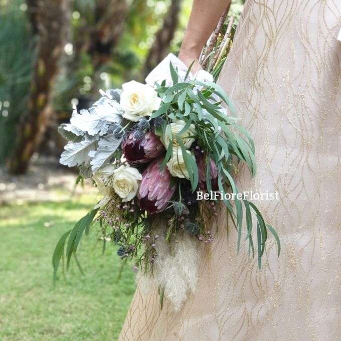Protea Wedding Bouquet by Belfiore Florist - 003