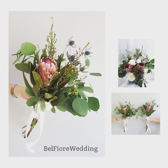 Protea Wedding Bouquet by Belfiore Florist - 002