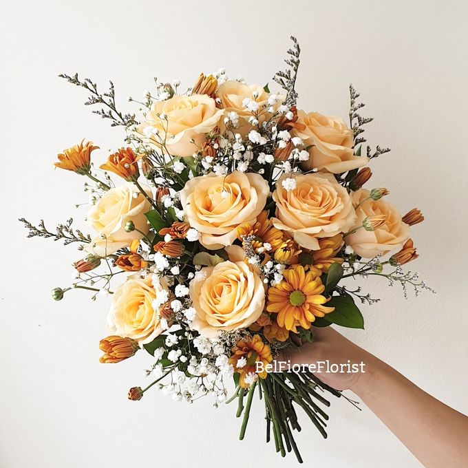 Peach Wedding Bouquet by Belfiore Florist - 002