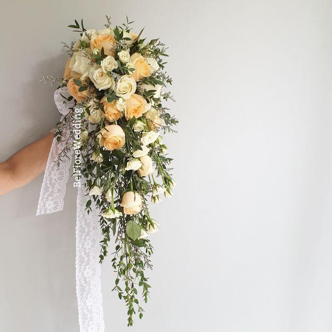 Peach Wedding Bouquet by Belfiore Florist - 001