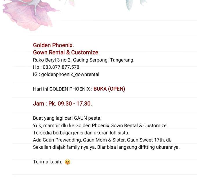 Today : OPEN ( 09.30 - 17.30) by Golden Phoenix Rent Gown - 003
