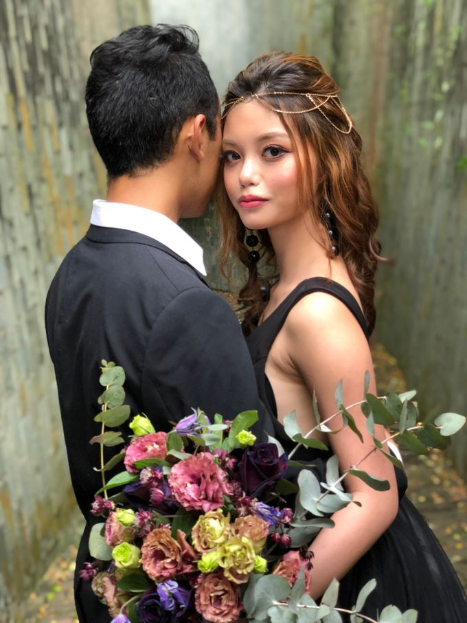 Black Romantic Bohemian Modern Chic Bridal Style Shoot - Danny and Daphne by Sylvia Koh Makeup and Hairstyling - 017