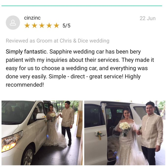Wishing Chris & Dice a lifetime of love and happiness by sapphire wedding car - 003