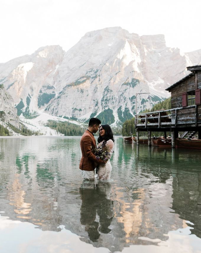 Pre-wedding shoot of Indonesian couple in Tre Cime Mountains and Lago di Braies, - the most beautiful lake of Dolomites in Italy. by Fotomagoria - 007