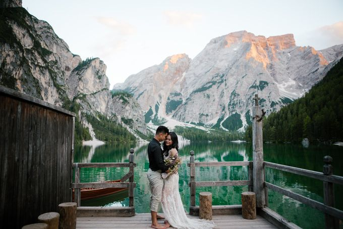 Pre-wedding shoot of Indonesian couple in Tre Cime Mountains and Lago di Braies, - the most beautiful lake of Dolomites in Italy. by Fotomagoria - 010