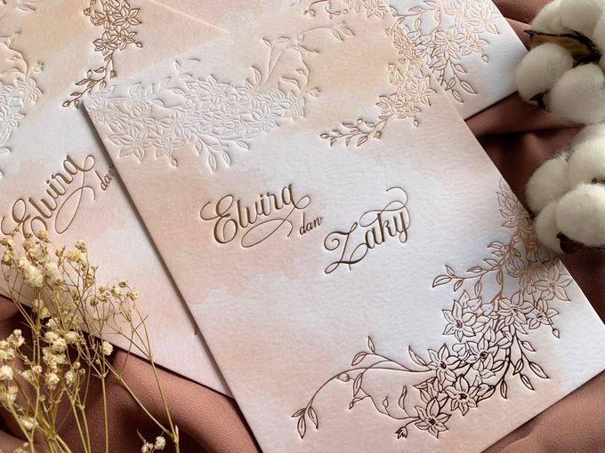 Peach Watercolor Floral by Trouvaille Invitation - 001