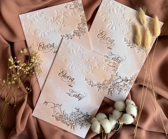 Peach Watercolor Floral by Trouvaille Invitation - 002