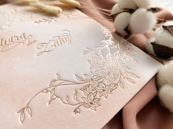 Peach Watercolor Floral by Trouvaille Invitation - 005