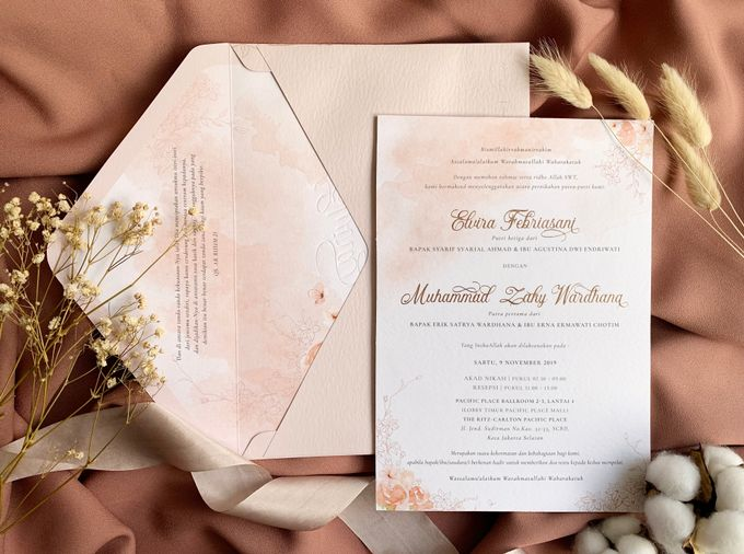 Peach Watercolor Floral by Trouvaille Invitation - 006