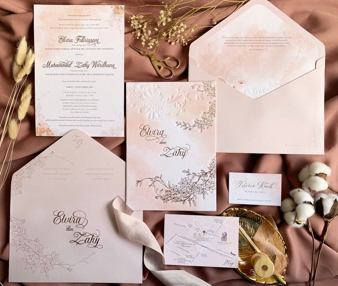 Peach Watercolor Floral by Trouvaille Invitation - 007