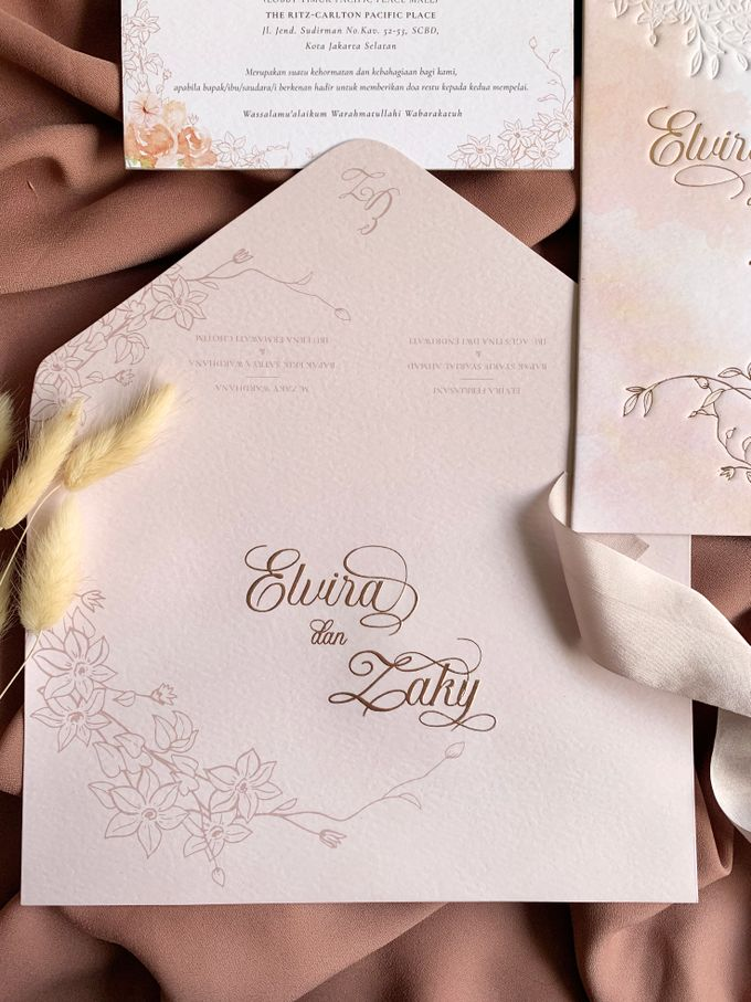 Peach Watercolor Floral by Trouvaille Invitation - 008