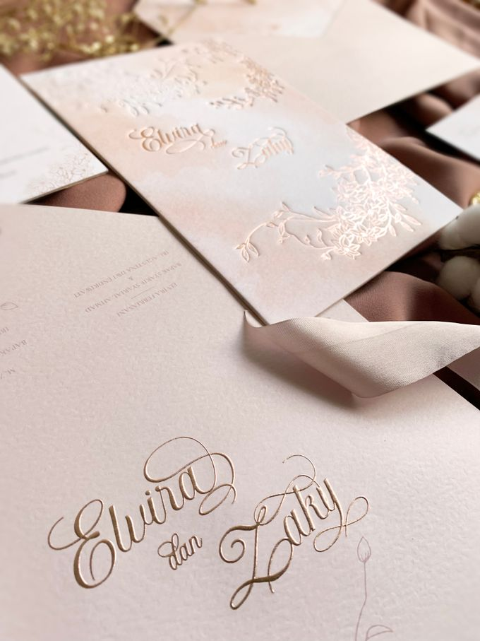 Peach Watercolor Floral by Trouvaille Invitation - 010
