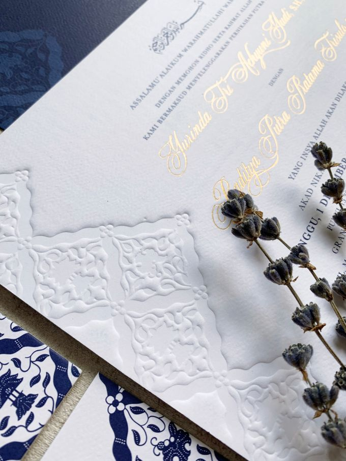 Navy Javanese Batik by Trouvaille Invitation - 001