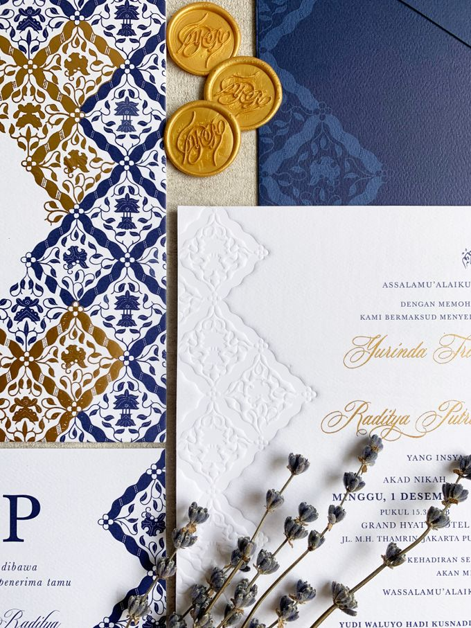 Navy Javanese Batik by Trouvaille Invitation - 002