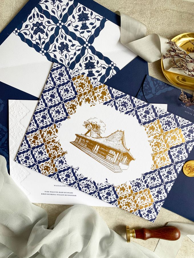 Navy Javanese Batik by Trouvaille Invitation - 009