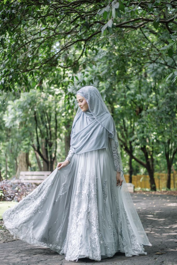 Ottoman Series - Blue Ice Resepsi by LAKSMI - Kebaya Muslimah & Islamic Bride - 002