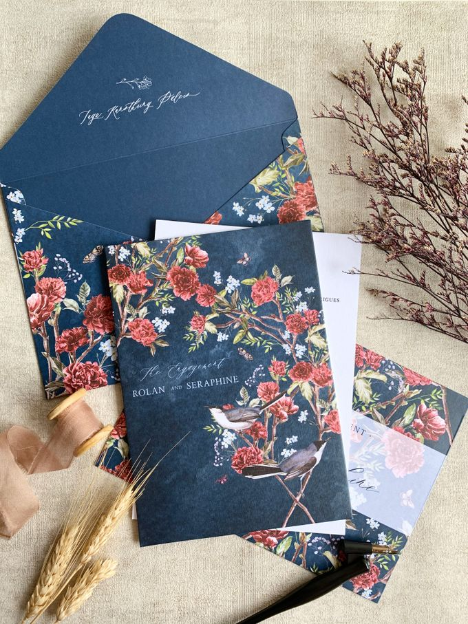 Navy Blue Chinoiserie by Trouvaille Invitation - 001