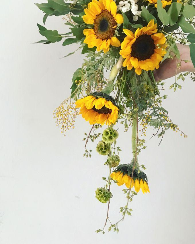 Cascading Sunflower Bridal Bouquet by Eufloria - 002