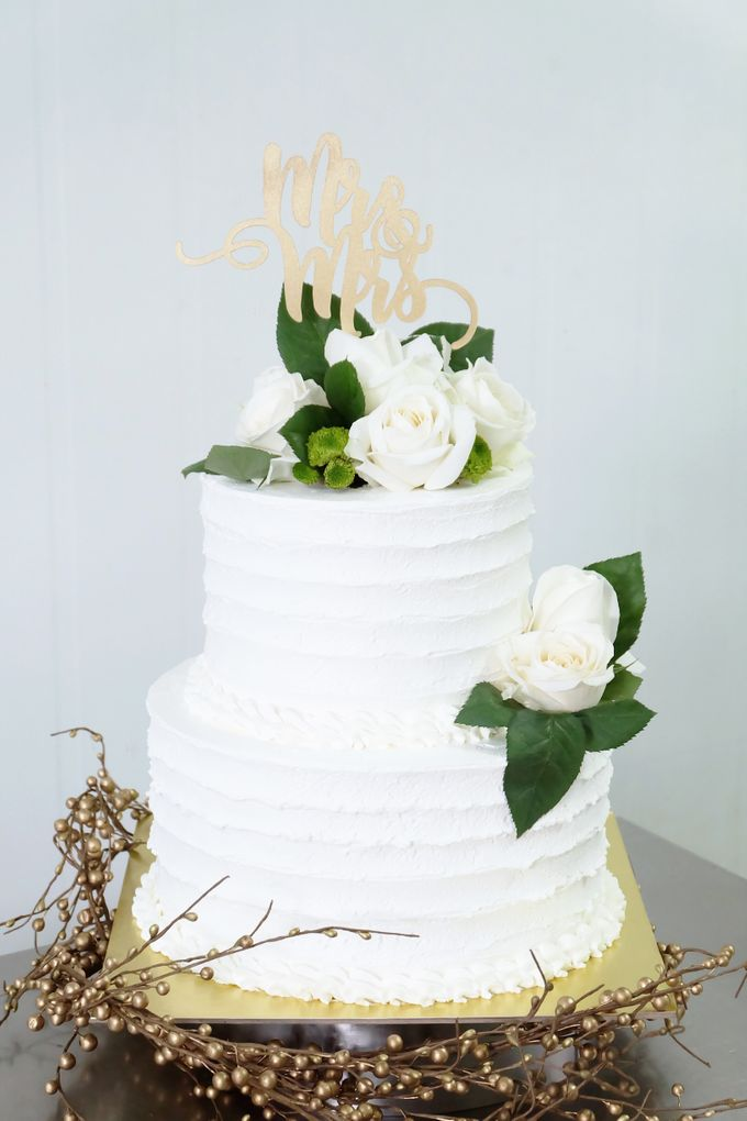 Two Tiered All White Buttercream by KAIA Cakes & Co. - 001