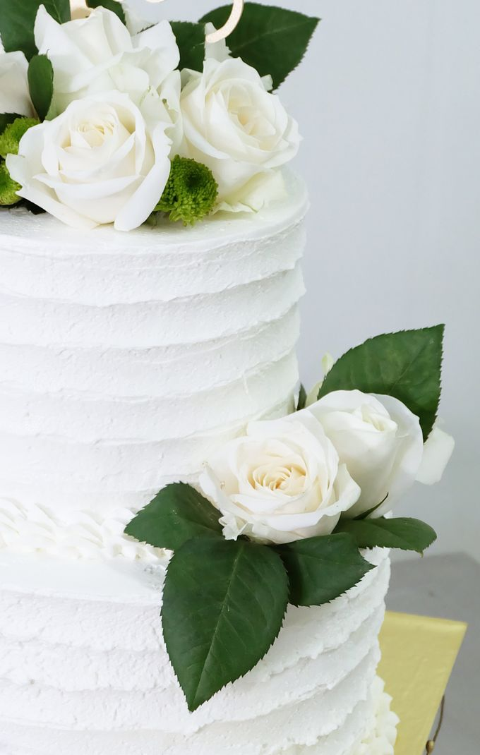 Two Tiered All White Buttercream by KAIA Cakes & Co. - 005