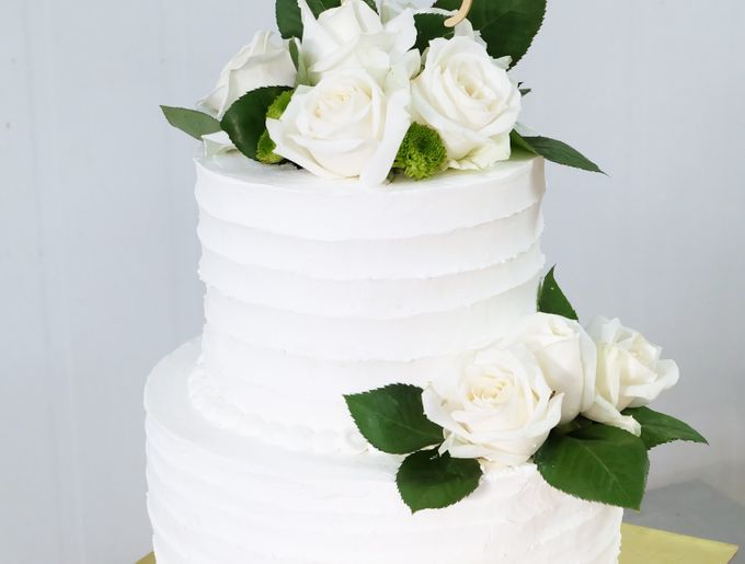Two Tiered All White Buttercream by KAIA Cakes & Co. - 003