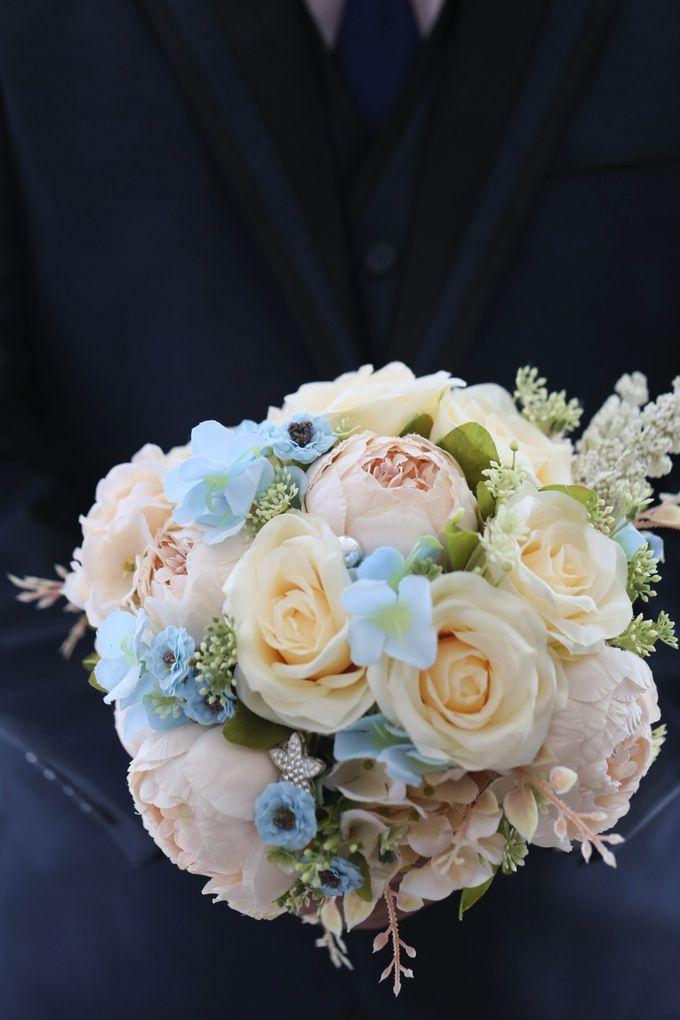 Artificial Wedding Hand bouquet - Peach Peony & Cream Rose by raia_fleurs - 002