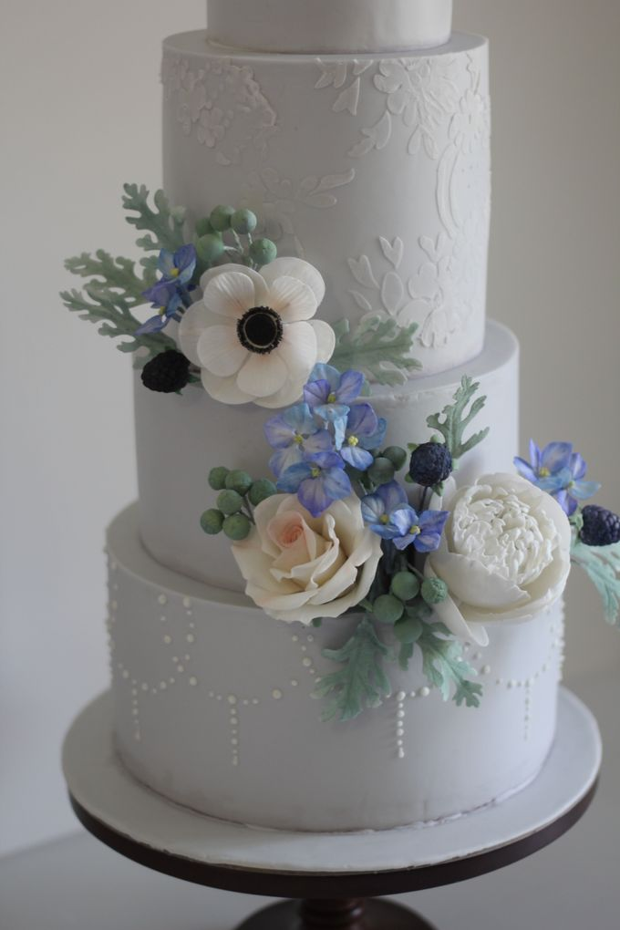 Four Tiered Cake with Edible Sugar Flowers by Cher - 005