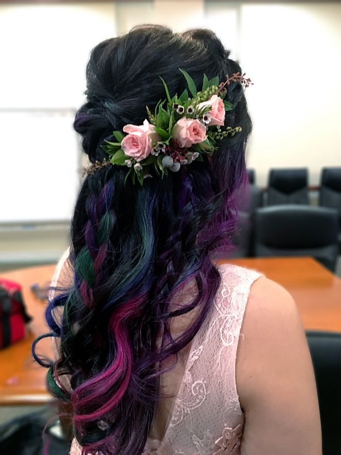 Romantic Floral Rustic Half up Half Down Hairstyles by Sylvia Koh Makeup and Hairstyling - 007