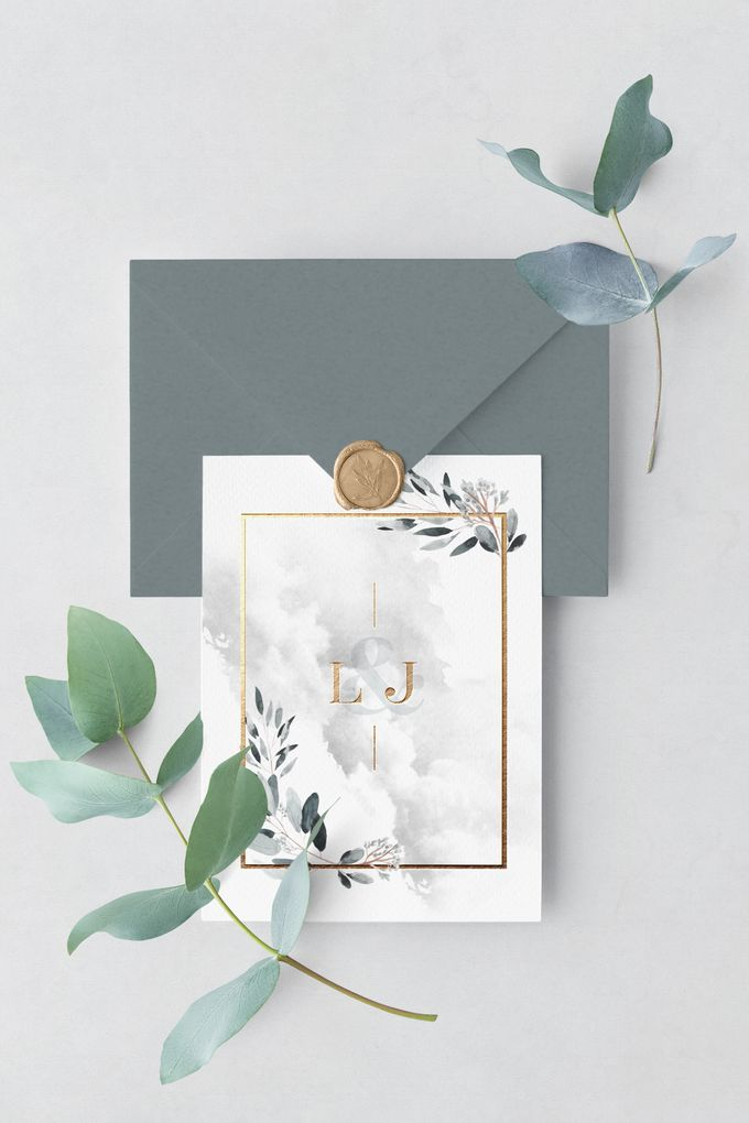 Silver Botanical by Trouvaille Invitation - 003