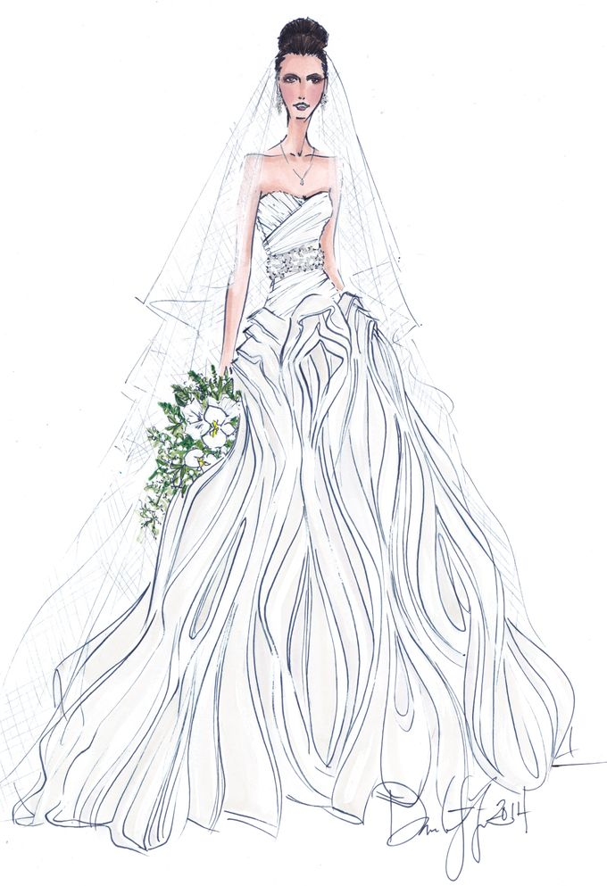 Custom frontals bridal illustration by Illustrative Moments - 031
