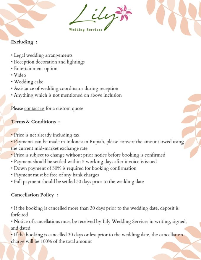 Our Wedding Packages by Lily Wedding Services - 005