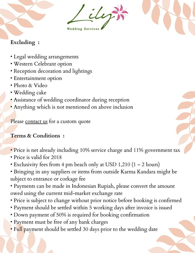Our Wedding Packages by Lily Wedding Services - 013