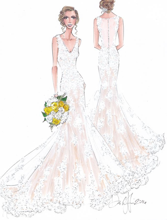 Custom frontal with back view bridal illustration by Illustrative Moments - 002