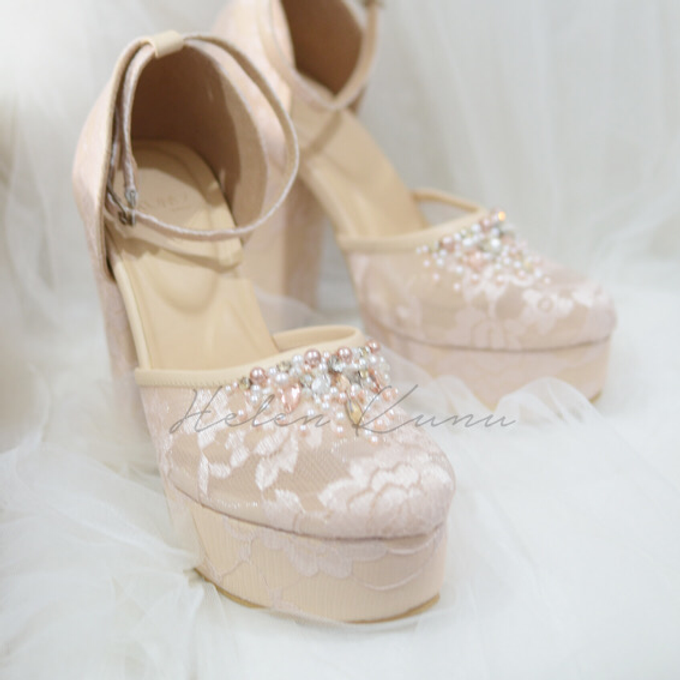 WEDDING BLUSH CREAM HEELS by Helen Kunu by Kunu Looks - 009