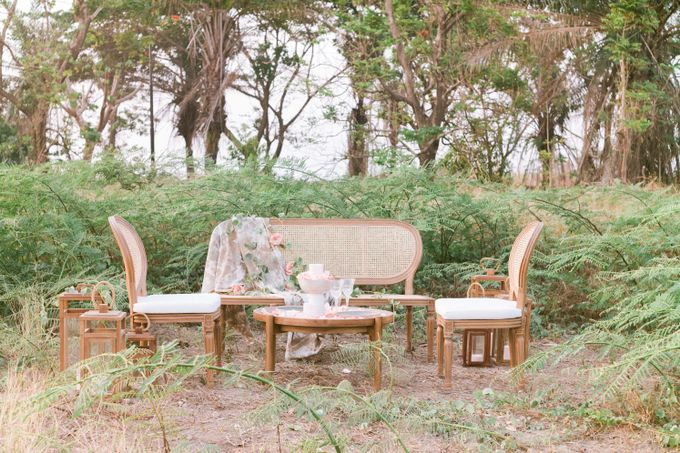 Louis Chairs and Bench Set by Le Scarlet Rental - 016