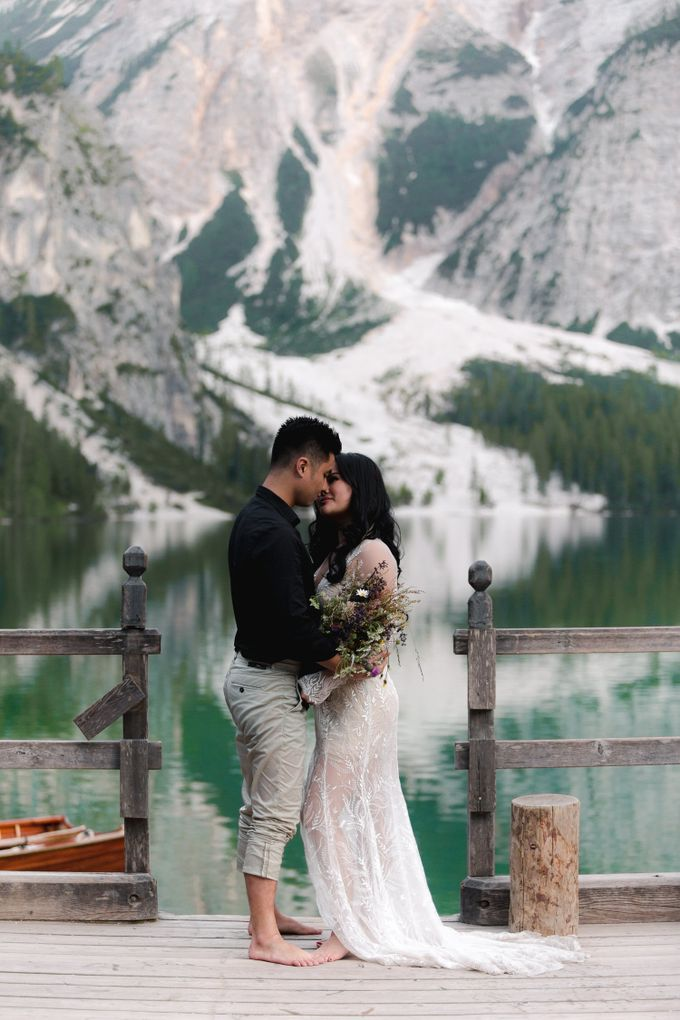 Pre-wedding shoot of Indonesian couple in Tre Cime Mountains and Lago di Braies, - the most beautiful lake of Dolomites in Italy. by Fotomagoria - 022