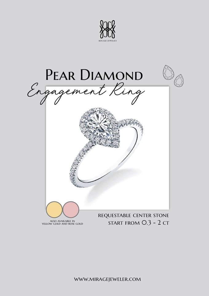 PEAR Center Engagement Ring by Mirage Jeweler - 006