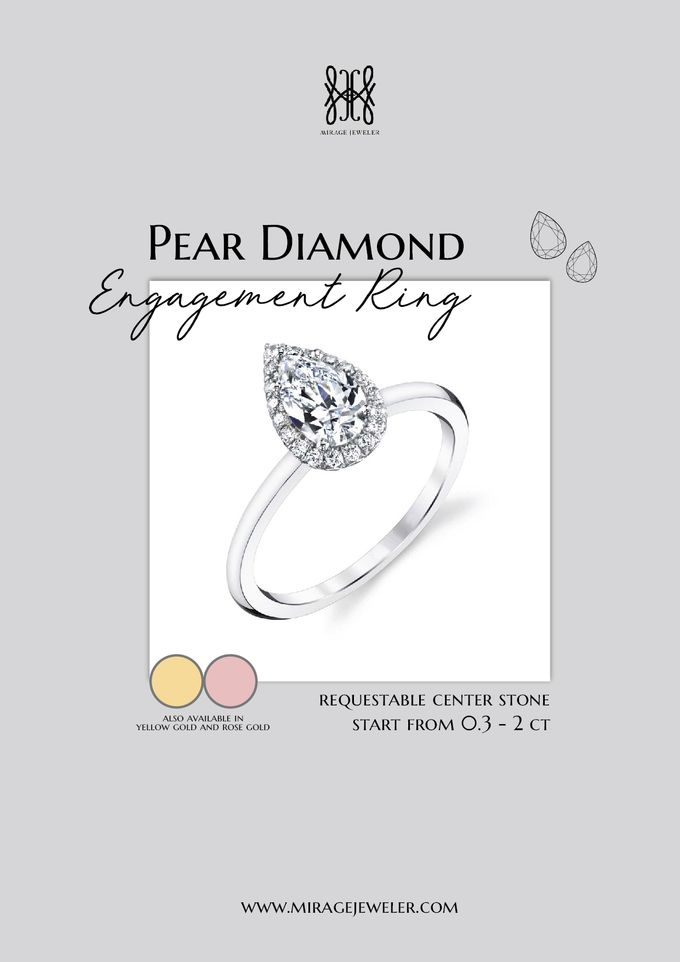 PEAR Center Engagement Ring by Mirage Jeweler - 007