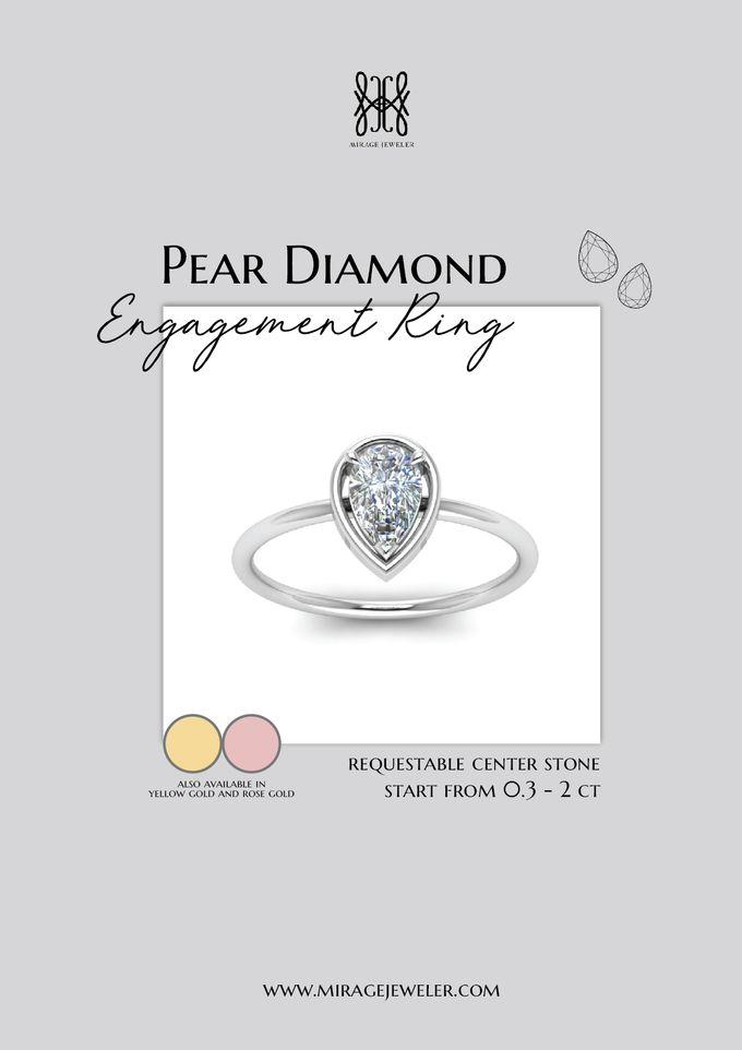 PEAR Center Engagement Ring by Mirage Jeweler - 009