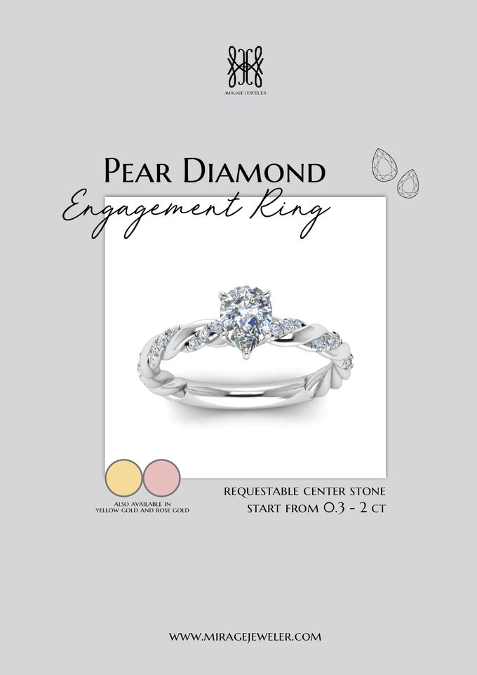 PEAR Center Engagement Ring by Mirage Jeweler - 010