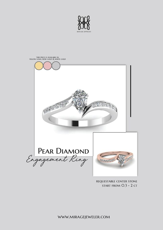 PEAR Center Engagement Ring by Mirage Jeweler - 011