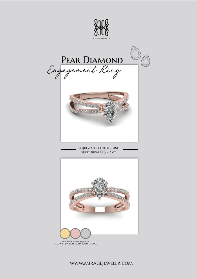 PEAR Center Engagement Ring by Mirage Jeweler - 012