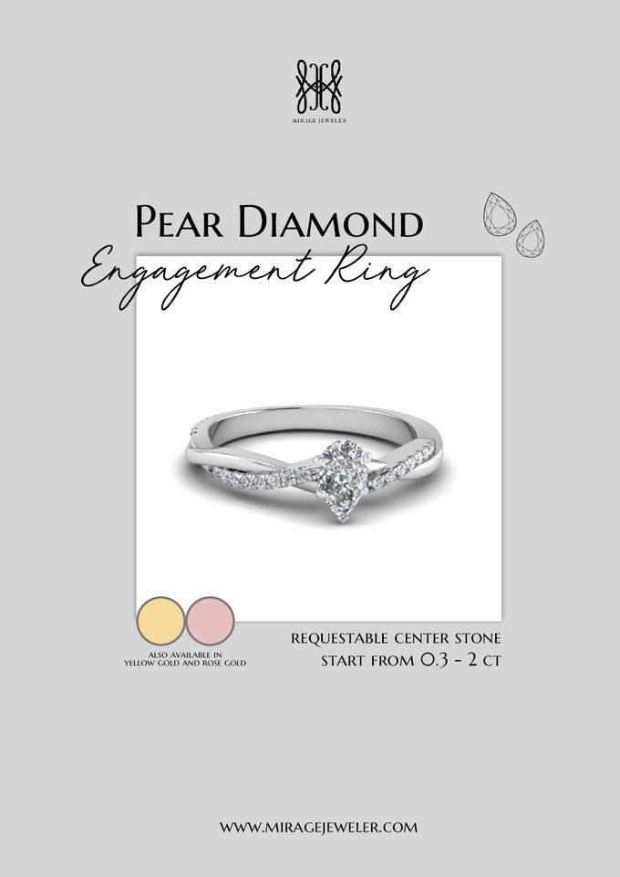 PEAR Center Engagement Ring by Mirage Jeweler - 013