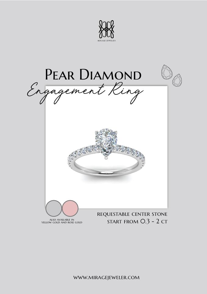 PEAR Center Engagement Ring by Mirage Jeweler - 014